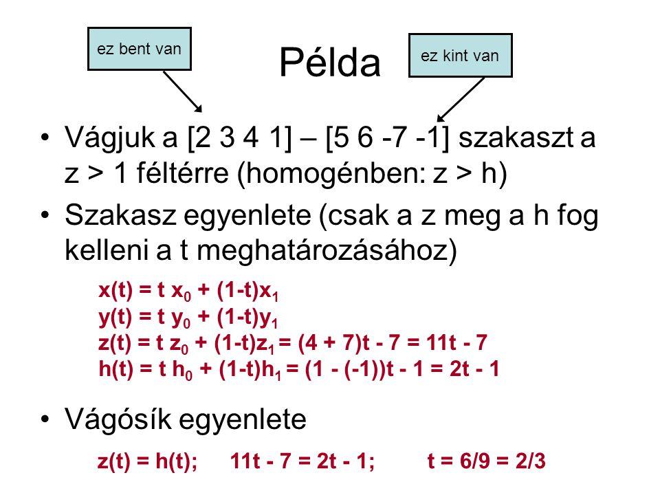 Példa ez bent van. ez kint van. Vágjuk a [2 3 4 1] – [5 6 -7 -1] szakaszt a z > 1 féltérre (homogénben: z > h)